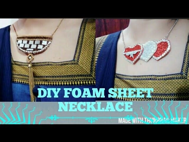 DIY FOAM SHEET craft NECKLACE funky and glittery