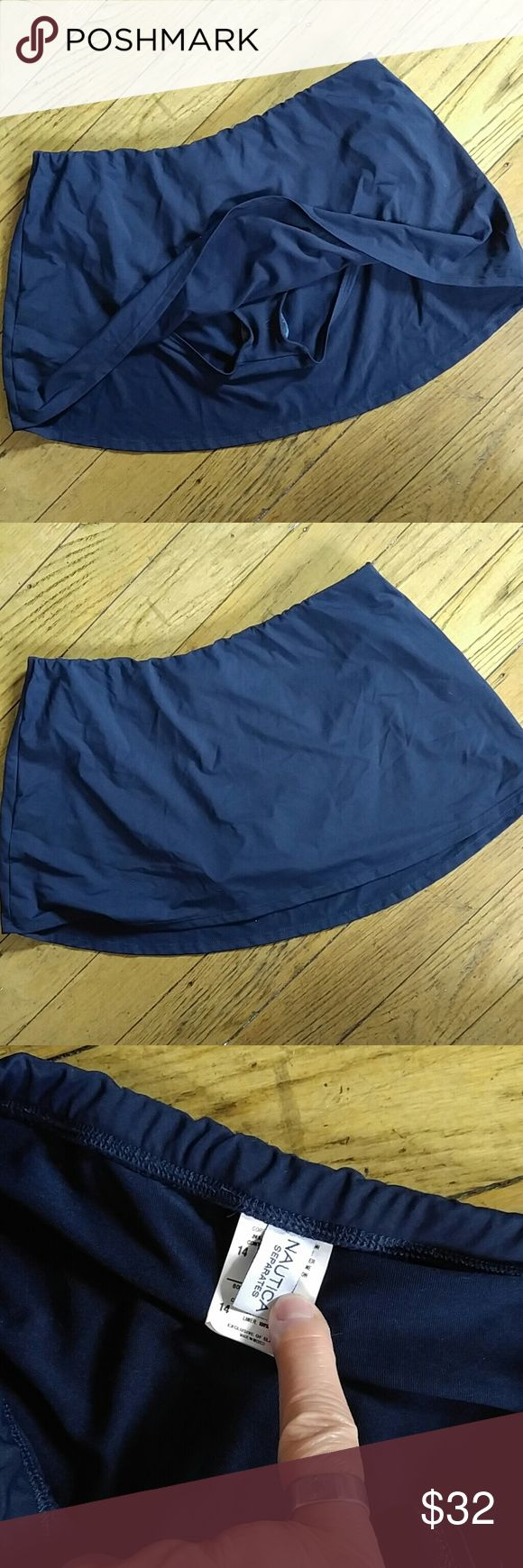NWT Navy skirtini skirt swim pant 2'fer Beautiful combo. Swim bottom & cover up in one. Full cut swim bottom. Items from Macy's overstock, prev seasons so tags may show markdowns. Bundle& save more. Nautica Swim Bikinis