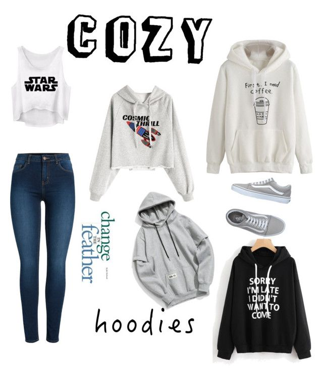 Cozy Hoodies by jessann-harrold on Polyvore featuring polyvore fashion style Pieces Vans clothing Hoodies