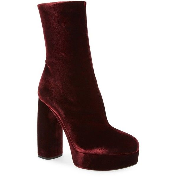 Women's Miu Miu Platform Block Heel Boot ($975) ❤ liked on Polyvore featuring shoes, boots, burgundy velvet, miu miu, platform shoes, burgundy shoes, velvet shoes and miu miu boots