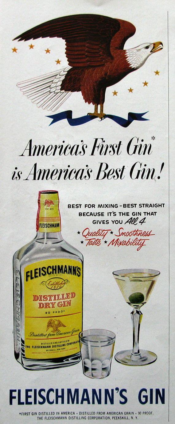 1951 Fleischmann S Distilled Dry Gin Ad American Bald Etsy Best Gin Dry Gin Distillation