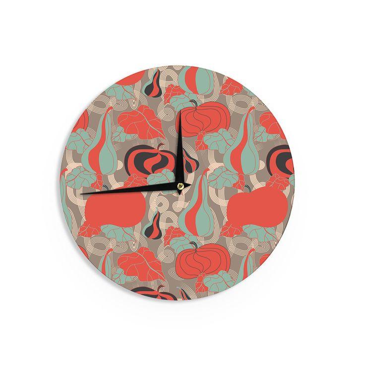 """Akwaflorell """"It's Pumpkin Time"""" Red Teal Wall Clock"""