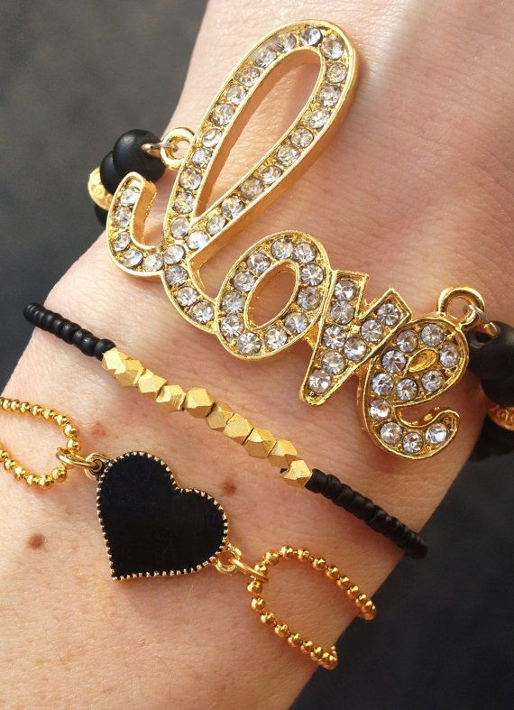 Lovestruck Bracelet Stack in Black and Gold by dAnn, #armcandy, #braceletstack