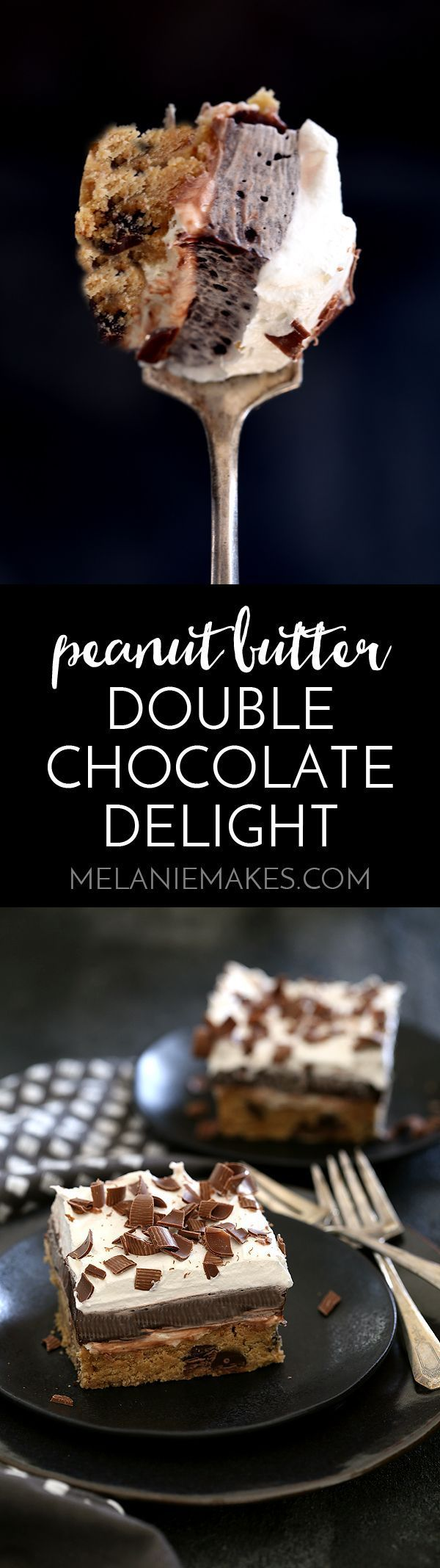 This Peanut Butter Double Chocolate Delight is a new spin on a family favorite that will have you coming back for seconds.  A three-in-one dessert.  Part peanut butter chocolate chip cookie, part cheesecake, part chocolate pie.