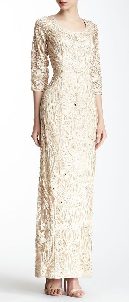 Sue Wong 3/4 Length Sleeve Embroidered Dress This is very Downton Abbey-heart.