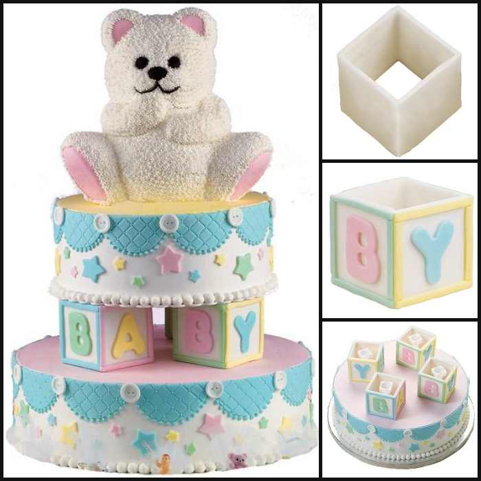 colorfully stacked cake is the perfect centerpiece for baby showers