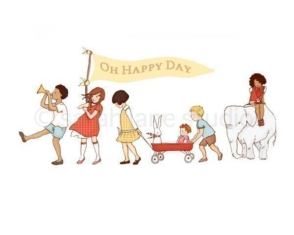 Children's Wall Art Print Oh Happy Day 8x10 by sarahjanestudios