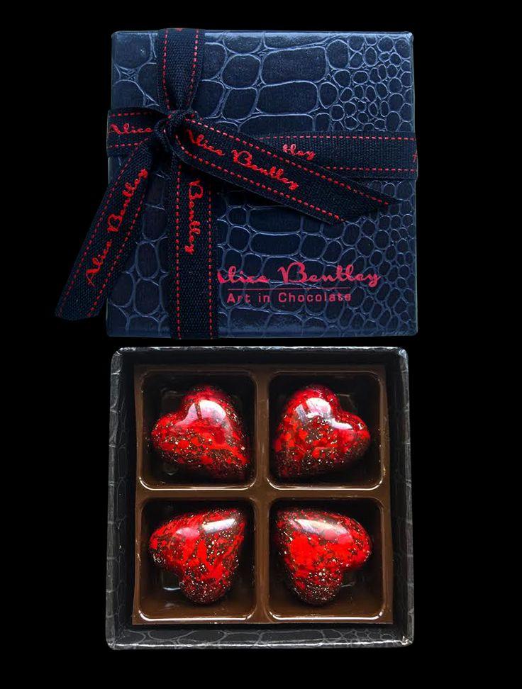 The Mini Love Box 4 Red Blood Hearts www.alicebentleychocolates.com