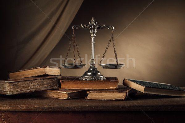 Stock fotó: öreg · ezüst · mérleg · könyvek · csendélet · keményfedeles