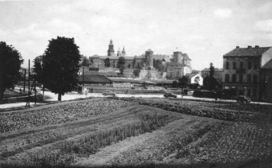 Widok na Wawel od strony Dębnik, 1951 rok. Fot. facebook.com/CracoviaVintage