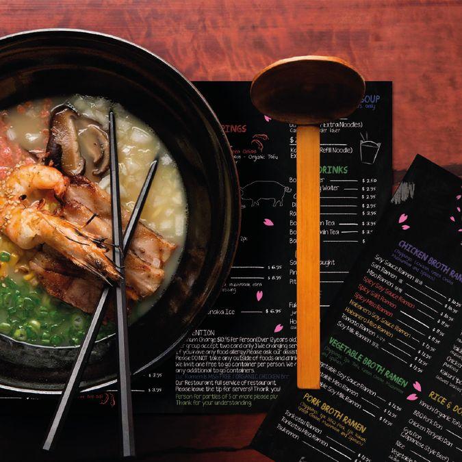 Design the menu for Ramen Underground, the most popular organic Ramen restaurant…