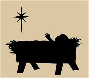 Baby Jesus In A Manger Silhouette Primitive topper stencil~ baby jesus ...