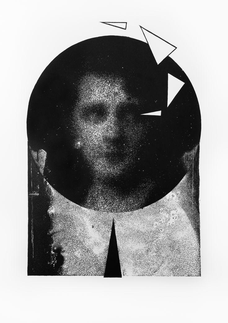 Przeszłośc wyobrażona, Szymon Ryczek, Linoryt, 100 x 70 cm