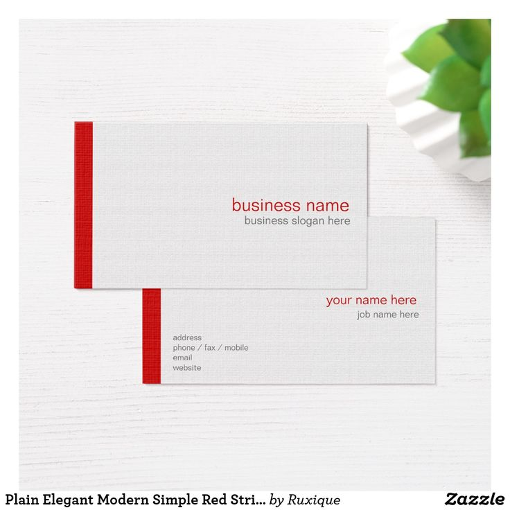 Plain Elegant Modern Simple Red Stripe on White Business Card #Plain #Elegant #Modern #Simple #RedStripe #White #Business #businesscards  #Card
