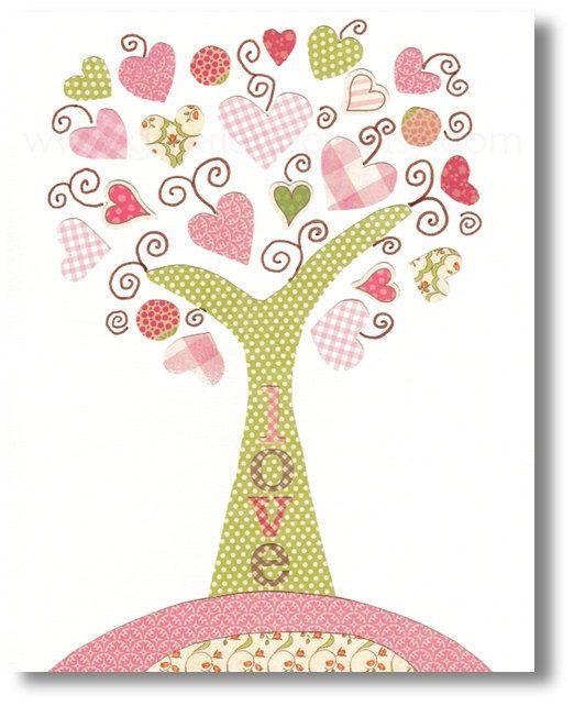 Kids wall art, nursery art prints, baby nursery decor, nursery art, Tree Pink, Tree Of Love 8x10 print from Paris by GalerieAnais via Etsy
