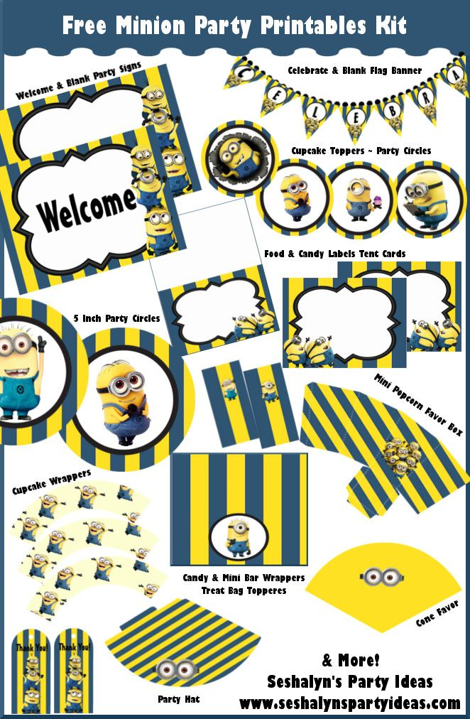 Free Minion Party Printables ~ Superb Party Kit for birthdays!   Seshalyn's Party Ideas #freeminionprintables #minionpartyideas #freepartyprintables