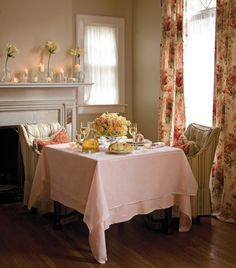 Isn't It Romantic? - Cozy up to the fireplace amid a soft palette of pretty florals and flickering candlelight...