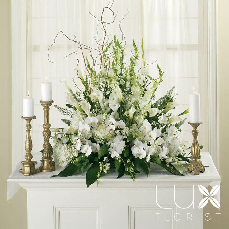 White Altar Arrangement (BW5-11), Wedding Flowers Phoenix, Phoenix Weddings & Wedding Planner Florist , Wedding Flowers.