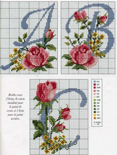 Schematic cross stitch Abc-roses