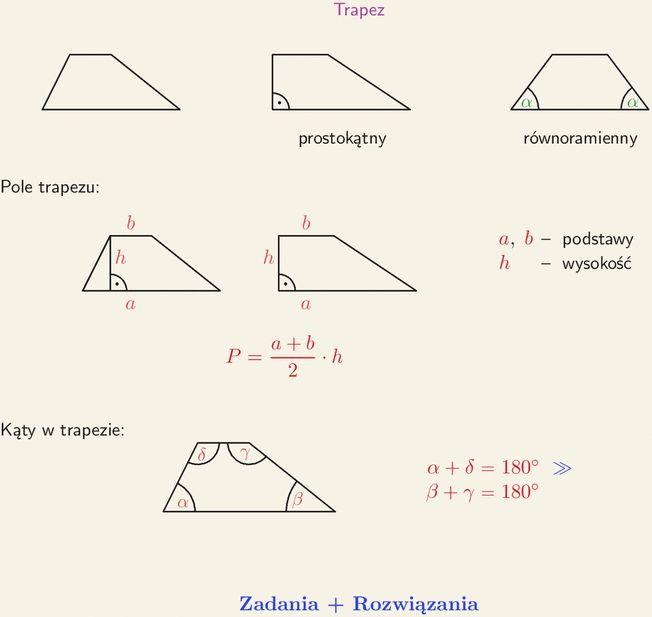 Trapez prostokątny, równoramienny, wzór na pole trapezu, kąty w trapezie