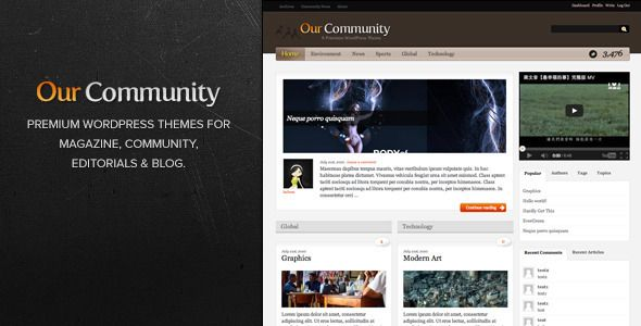 Our Community   http://themeforest.net/item/our-community/15953?ref=damiamio       For premium community site such as editorials, magazine, community, corporate, anything.   Get Updates Via:   Update (9 March 2013) Version 3.7   Update Twitter Counter script  get rid of rss counter as google has stop supporting this.  Update to compatible to WP 3.5  remove twitter widget due to the new twitter API changes, now you can set the twitter stream by following the guideline on twitter official…