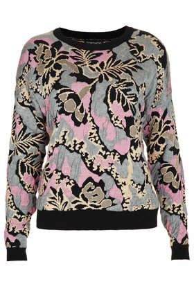Knitted Quilted Floral Jumper