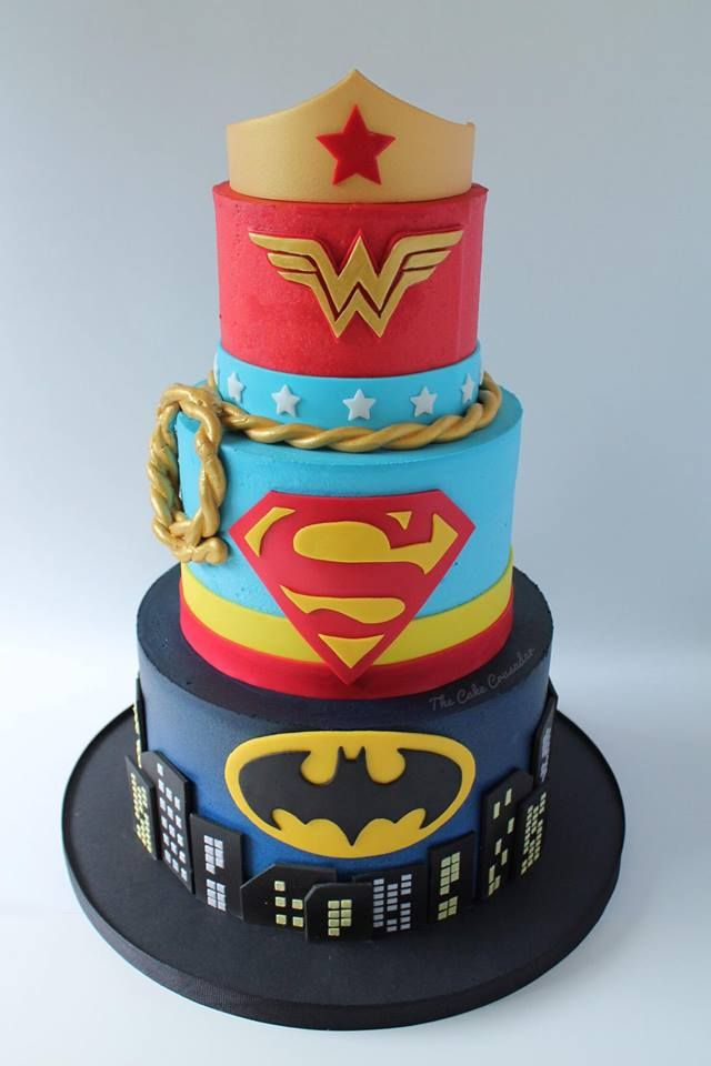 Superhero cake. Batman cake. Superman cake. Wonder Woman cake.