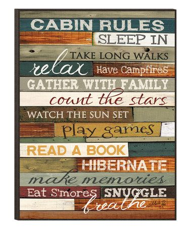 Another great find on #zulily! 'Cabin Rules' Wall Art #zulilyfinds