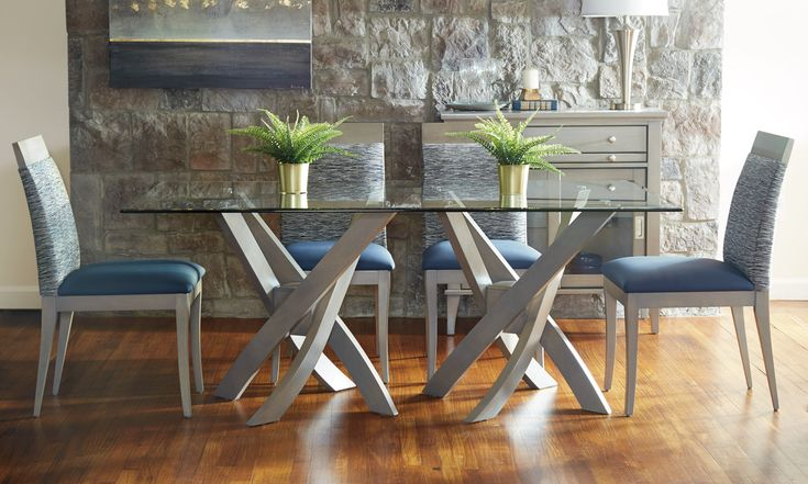 Solid Wood With Glass Top Dining #table Made In Canada. Choice Of Wood Stain