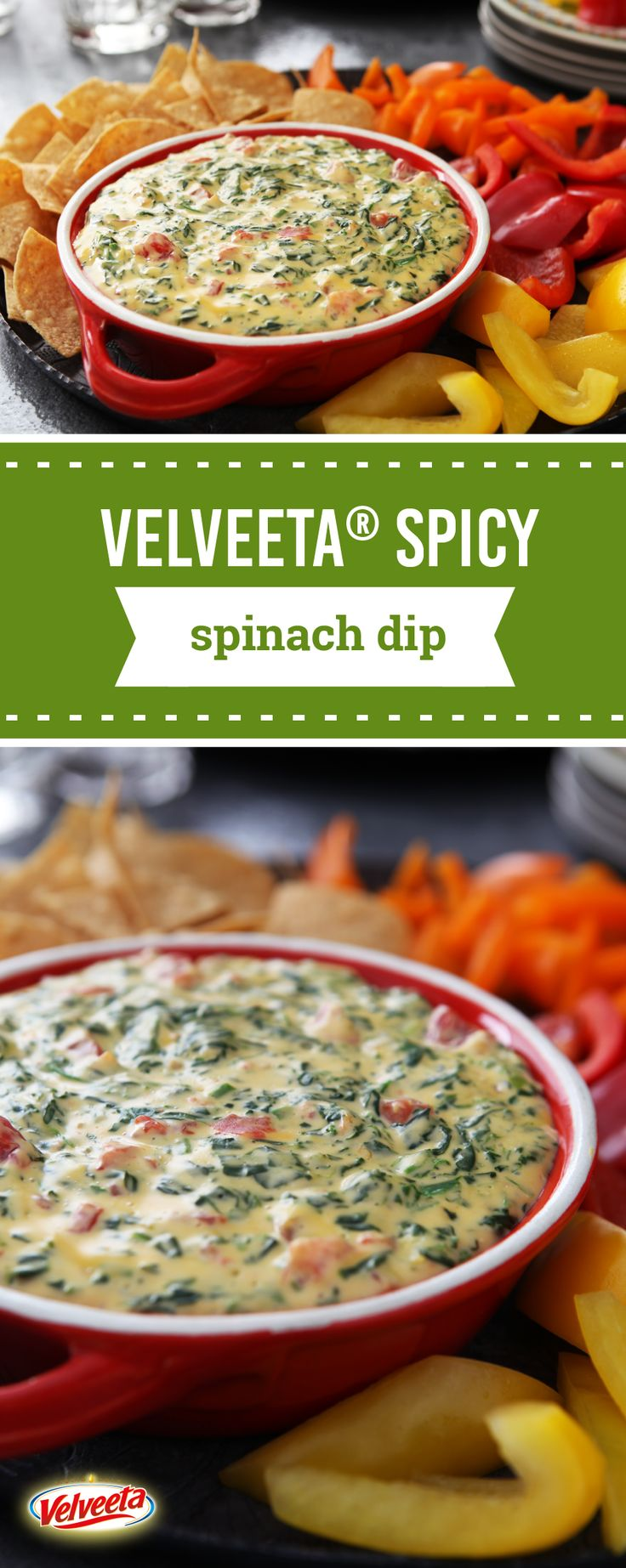 VELVEETA® Spicy Spinach Dip – This spicy spinach dip gets its kick from diced tomatoes & green chilies—and its smooth, creamy texture from VELVEETA® and cream cheese. Ready in 15 minutes, make sure to save this appetizer recipe for all the holiday entertaining you have coming up.