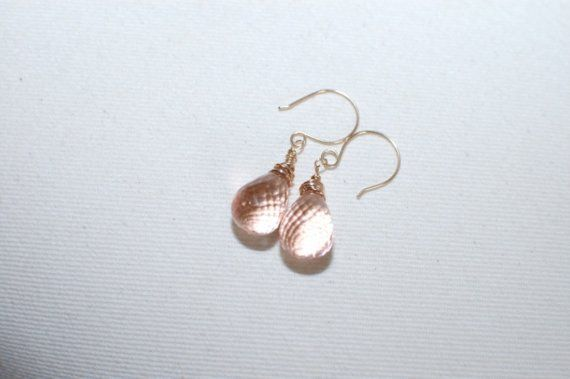 Shoply.com -Ligth peach  crystal briolette earrings. Only C$30.00