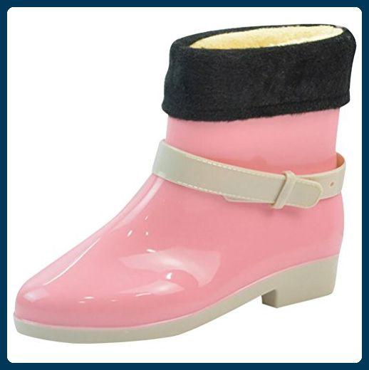 LvRao Damen Wasserdichte Nette Schnee Regen Schuhe Niedrige Knöchel Gummistiefel Kurze Regenstiefel Rosa mitGefütterte Europäische Größe 38 - Stiefel für frauen (*Partner-Link)