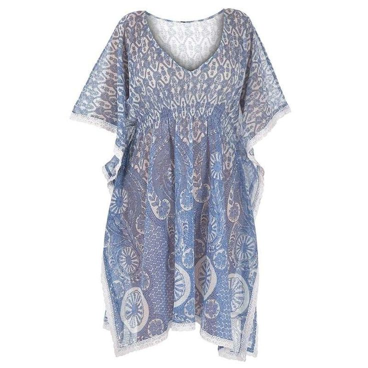 DRESS/PONCHO IN BLUE-WHITE COLOR ONE SIZE (100% COTTON) - Skirts-Dresses - Clothes