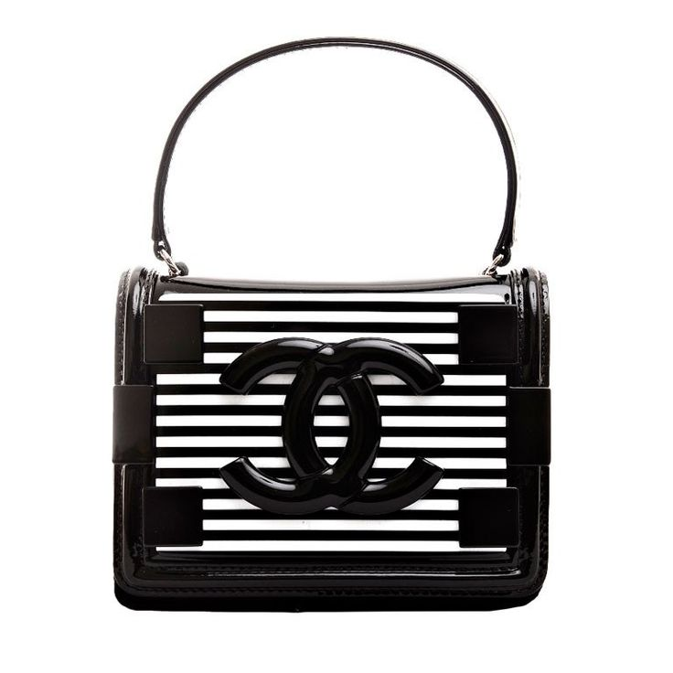Chanel Black and White Striped Patent Boy Brick Crossbody Bag | From a collection of rare vintage handbags and purses at https://www.1stdibs.com/fashion/handbags-purses-bags/handbags-purses-bags/