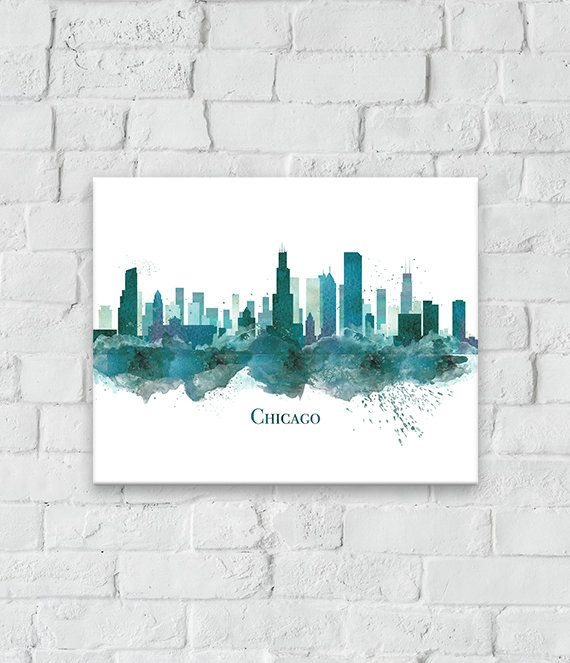This Teal Watercolor Chicago Skyline Print Makes A Statement On Any Wall Modern Colorful And Full Of Chicago Pride Chicago Wall Art Nyc Decor Chicago Wall