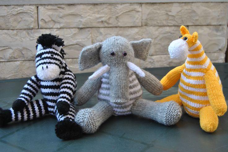 Сафари спицами игрушки. Слон, зебра и жираф. safari knits toy knitting