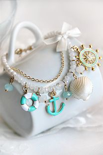 anchor navy wind natural pearl shell bracelet ,shop at Costwe.com
