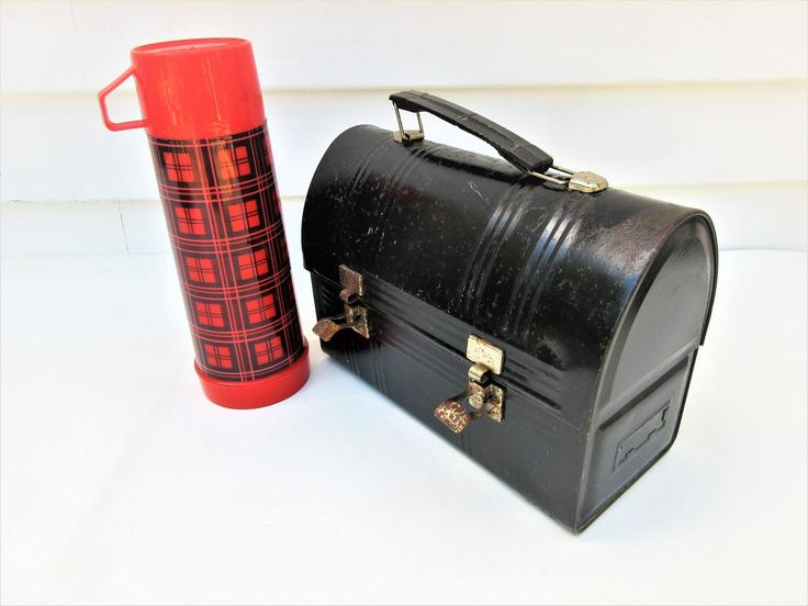 Vintage Metal Lunch Box | Black Domed Lunchbox | Aladdin Thermos | Workers Lunch Pail by WhimzyThyme on Etsy #metallunchbox #metallunchbox