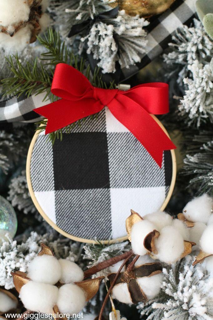 Black and White Buffalo Plaid Ornament