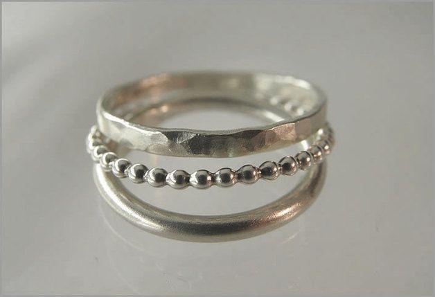 Drei Stapelringe im Set aus 925er Sterlingsilber. // stackable silver rings via DaWanda.com