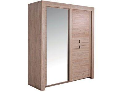 armoires 2 portes coulissantes sao coloris ch ne oxford prix promo conforama au lieu de. Black Bedroom Furniture Sets. Home Design Ideas