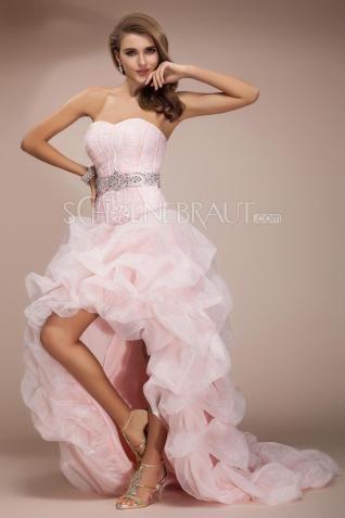 Straß Leibbinde mehrlagige Falten Brautkleid vorne kurz hinten lang