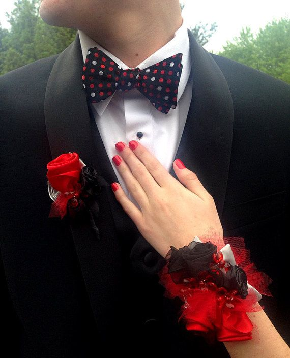 Corsage for Prom, Boutonniere for Prom, Unique ribbon roses wrist corsage and matching boutonniere. Red Black Silver, La Quincea�era