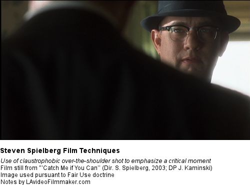 Spielberg Techniques - Claustrophobic over-the-shoulder shots: an example from 'Catch Me if You Can'