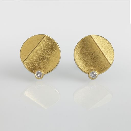 Sterling Silver and 24ct Gold Earrings with Round Diamonds | Contemporary Earrings by contemporary jewellery designer Josef Koppmann