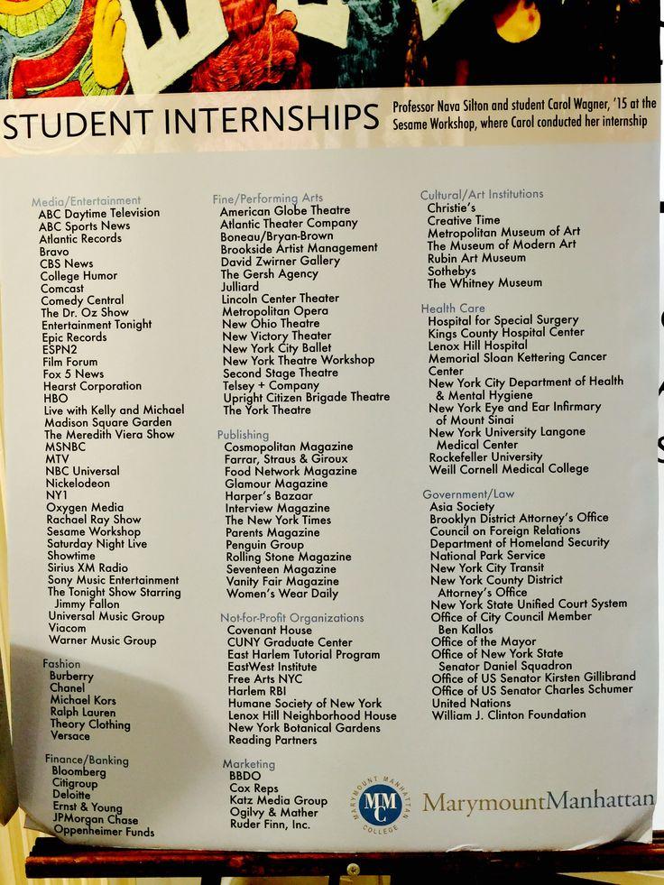 Marymount Manhattan College Internships