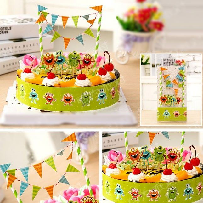 Want something special for your boy's birthday? Check out this lovely monster cake topper banner and wrap.  Box packing, USD7.99 with free shipping!