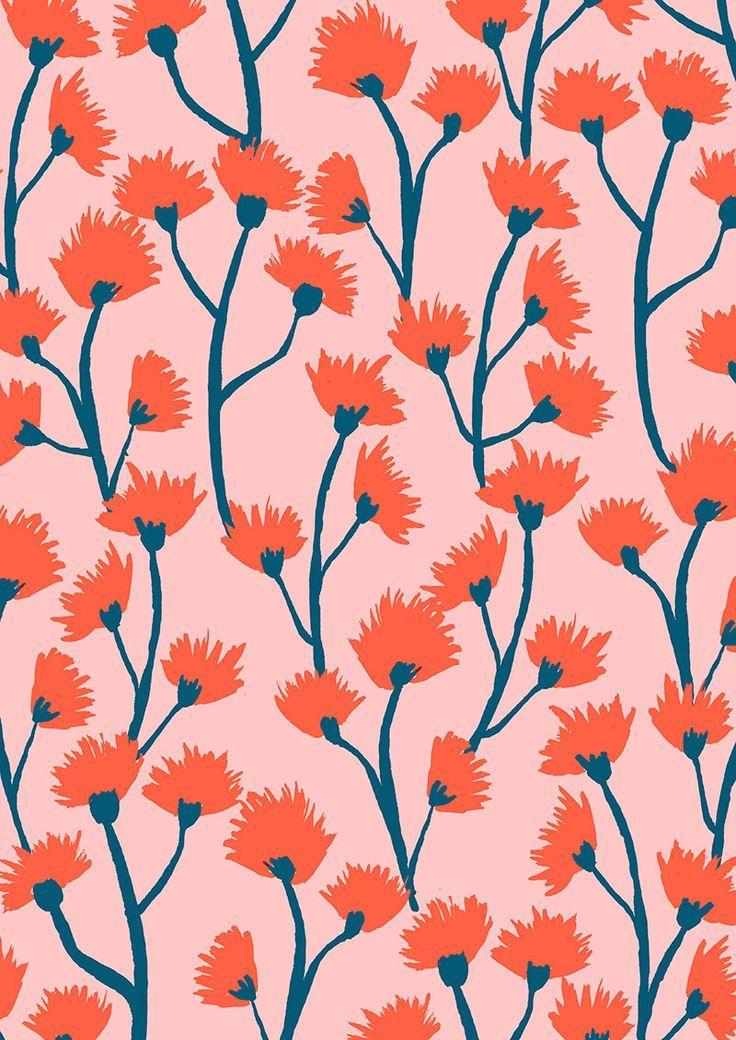 Botanical floral prints by CAPRICORN STUDIO   Pink flower pattern   Trailing red flowers print design