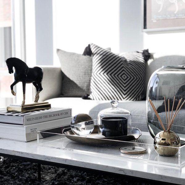 Acrylic Clear Rectangular Tray Reviews Cb2 Coffe Table Decor Table Decor Living Room Coffee Table Books Decor
