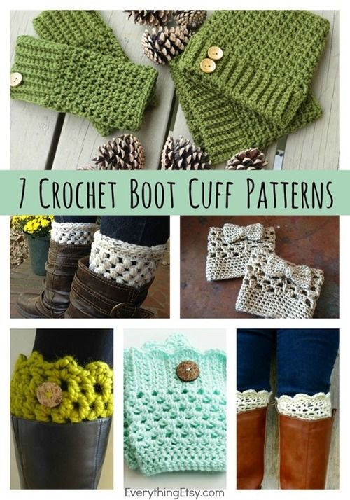 DIY 7 Free Crochet Boot Cuff Patterns from Everything Etsy. There are links to blogs for all of these free patterns (so no signup needed anywhere).